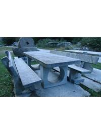 Table en Serizzo Antigorio Scié avec Pieds Circulaires