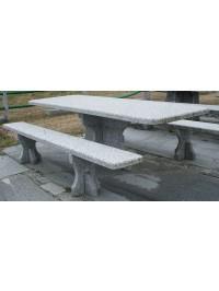 Table en Serizzo Antigorio Grenaillé sec cm 255x87x5 avec Bancs