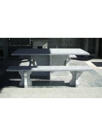 Table en Serizzo Antigorio Poli sec cm 200x95x4 avec Bancs