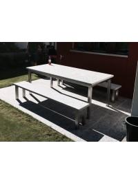 Table en Serizzo Antigorio Grenaillé et Support en Acier INOX